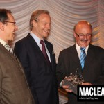 "NDP MP Yvon Godin (right) accepts the award for ""Most Collegial MP"" on behalf of Peter Stoffer"