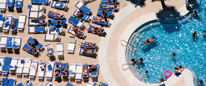 The pool chair stakeout