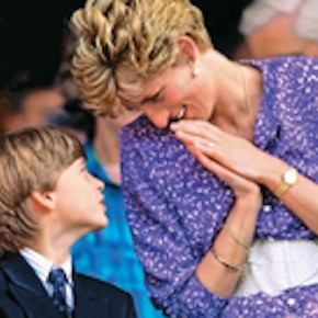 1991, Wimbledon Lawn Tennis Championships, H,R,H, Princess Diana of Wales, looks lovingly at her son Prince William