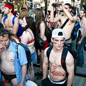 A previous naked protest (DmpstrBaby/Flickr)