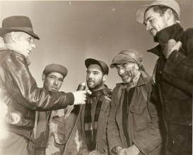 Edward Nyman, centre, speaks for the four trekkers in Sault Ste.-Marie in 1951.