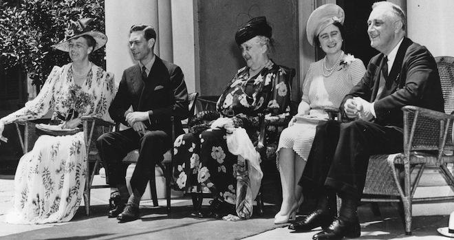 Eleanor Roosevelt, King George, Sara Delano Roosevelt (FDR's mother), Queen Elizabeth and President Roosevelt on the veranda at Hyde Park