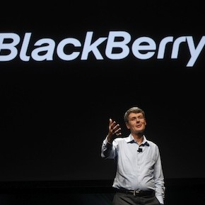 Research In Motion CEO Heins gestures as he delivers his keynote address during the Blackberry Jam Americas in San Jose