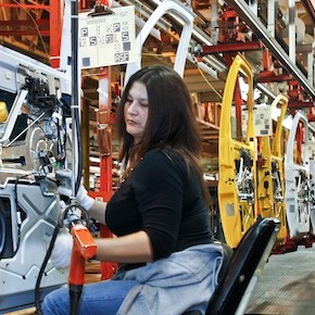 A view of employees working at the General Motors assembly plant in Wentzville, Missouri