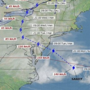 Hurricane Sandy Tracking Map from weatheroffice.gc.ca