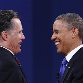 U.S. President Obama and Republican Presidential nominee Romney shake hands at the conclusion of the final presidential debate at Lynn University in Boca Raton