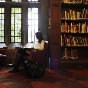 English student Cassandra Lopes reads at the Hart House Library
