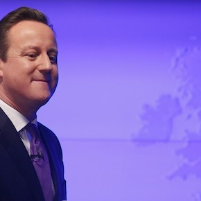 Britain's Prime Minister David Cameron walks away after delivering a speech in central London