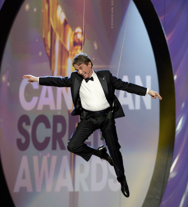 Martin Short flies through the air as he hosts the Canadian Screen Awards in Toronto on Sunday, March 3, 2013.  (Frank Gunn/The Canadian Press)