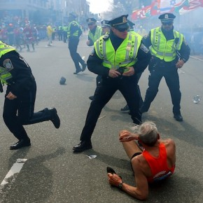 78-year-old Bill Iffrig moments after being knocked down by the explosion (John Tlumacki/AP/Boston Globe)