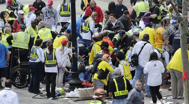 At the finish line of the Boston Marathon, April 15, 2013. (Charles Krupa, AP Photo)