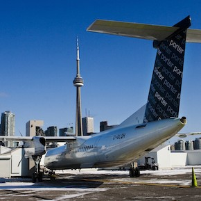 A Porter Airlines Bombardier Q400 turboprop aircraft is seen in Toronto