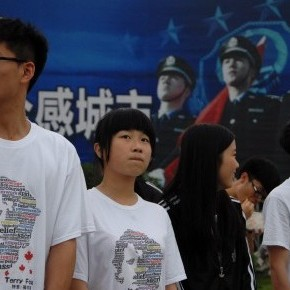 Students in Tongxiang, China participate in a Terry Fox run Tamsyn Burgmann/CP