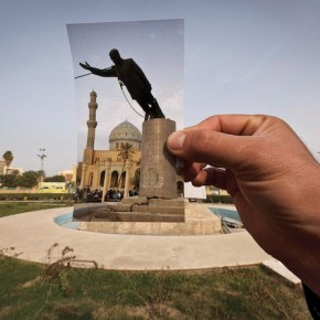 The former site of Saddam Hussein's statue in Baghdad's Firdos Square. (Maya Alleruzzo/AP)
