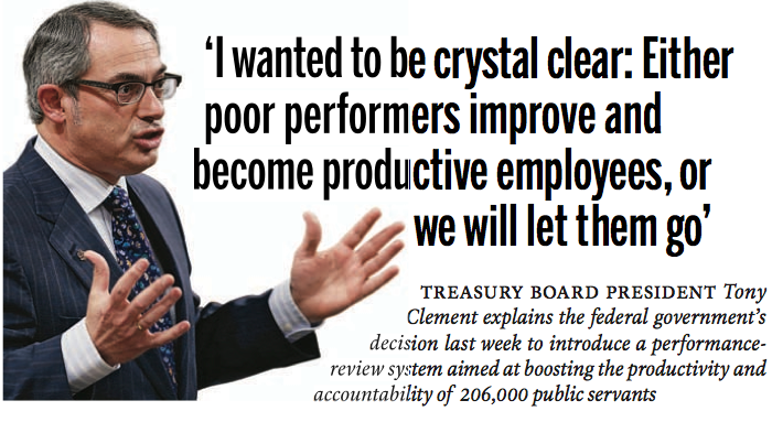 Tony Clement, productive member of government, on public-sector performance