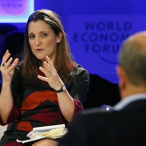 Freeland ,Digital Editor Thomson Reuters, gestures during the annual meeting of the World Economic Forum in Davos