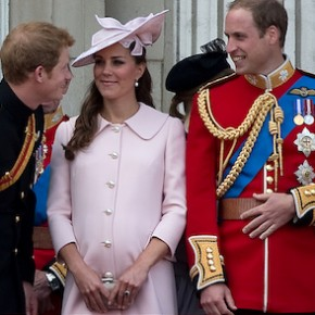 Prince Harry, Prince William and Catherine, Duchess of Cambridge stand on the balcony of Buckingham Palace after the Trooping the Colour ceremony in central London