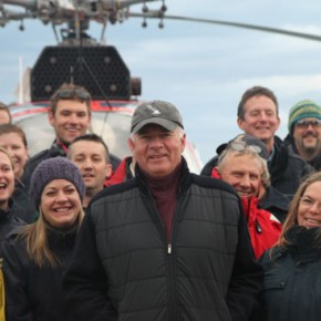 Peter Mansbridge with crew on the Sir Wilfrid Laurier.