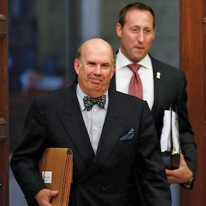 Supreme Court of Canada nominee Justice Nadon arrives to testify with Justice Minister MacKay on Parliament Hill in Ottawa