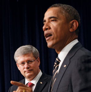 Obama meets with Canadian Prime Minister Harper in Washington