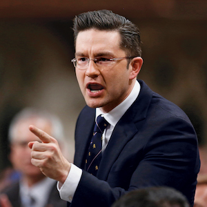 Canada's Minister of State for Democratic Reform Poilievre speaks during Question Period in the House of Commons on Parliament Hill in Ottawa