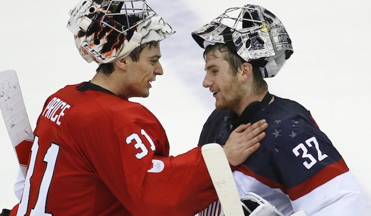 Carey Price greets USA goalie Jonathan Quick after the 1-0 Canada win. ( b82eba3fb