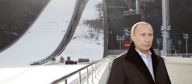 Russian President Vladimir Putin visits a ski jumping complex in Krasnaya Polyana near the Black Sea resort of Sochi, southern Russia, Wednesday, Feb. 6, 2013. The Games will take place in a coastal cluster where indoor sports such as ice-hockey will be held and in a mountain complex where athletes will compete for medals in skiing and other outdoors disciplines. (AP Photo/Sergei Karpukhin, Pool)