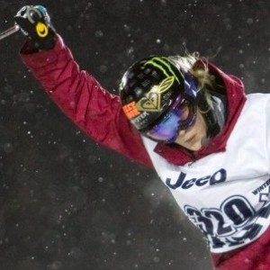 Sarah Burke flying out of the SuperPipe at the Winter X Games 13 (Nathan Bilow/AP)