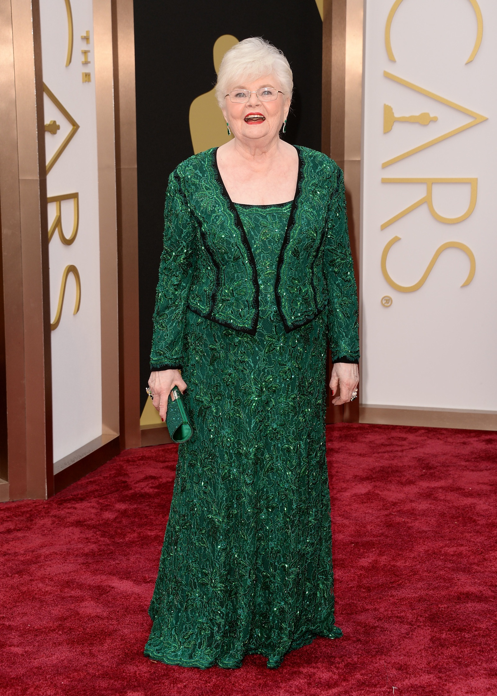 This is what 84 can look like: Best supporting actress nominee June Squibb in a glittery emerald jacket and gown by Tadashi Shoji.