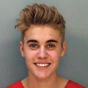 Booking photo of Canadian teen pop singer Bieber in Miami Beach