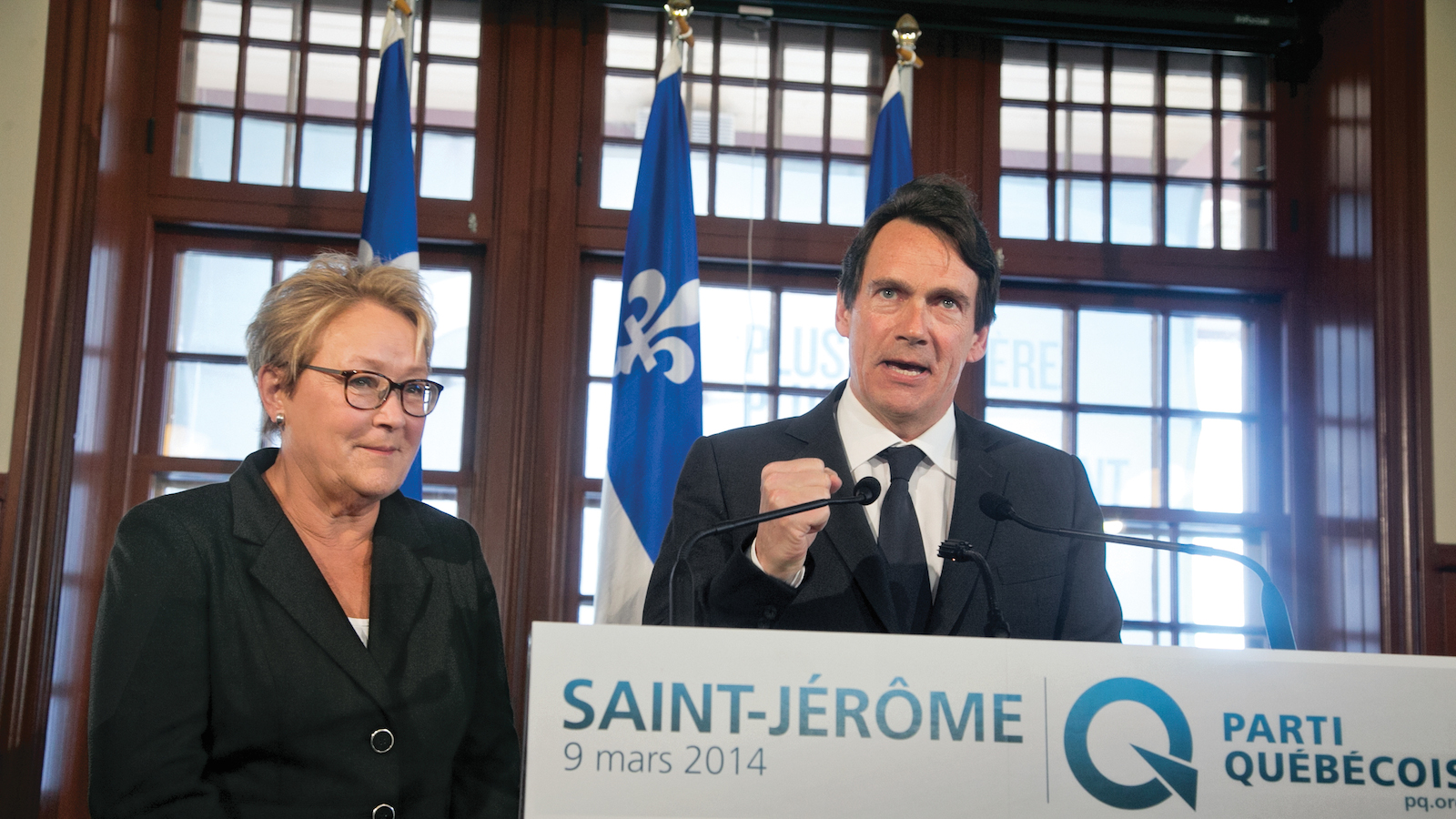 Pierre Karl Peladeau with Pauline Marois at a campaign event in March. (Christinne Muschi)