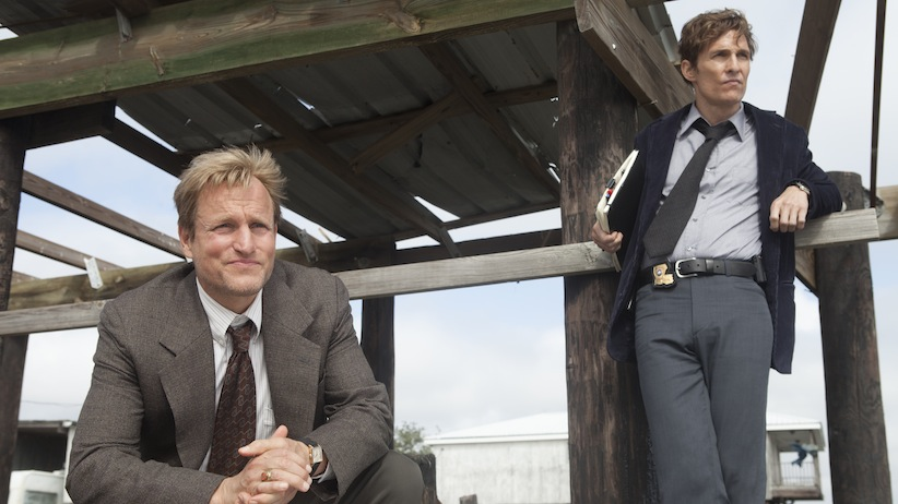 Woody Harrelson, left, as Marty Hart. Matthew McConaughey, right, as Rust Cohle. (HBO Canada)