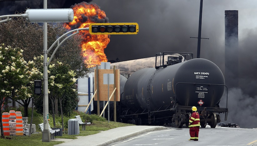 Several people were missing after four tank cars of petroleum products exploded in the middle of a small town in the Canadian province of Quebec early on Saturday in a fiery blast that destroyed dozens of buildings. (Mathieu Belanger/Reuters)