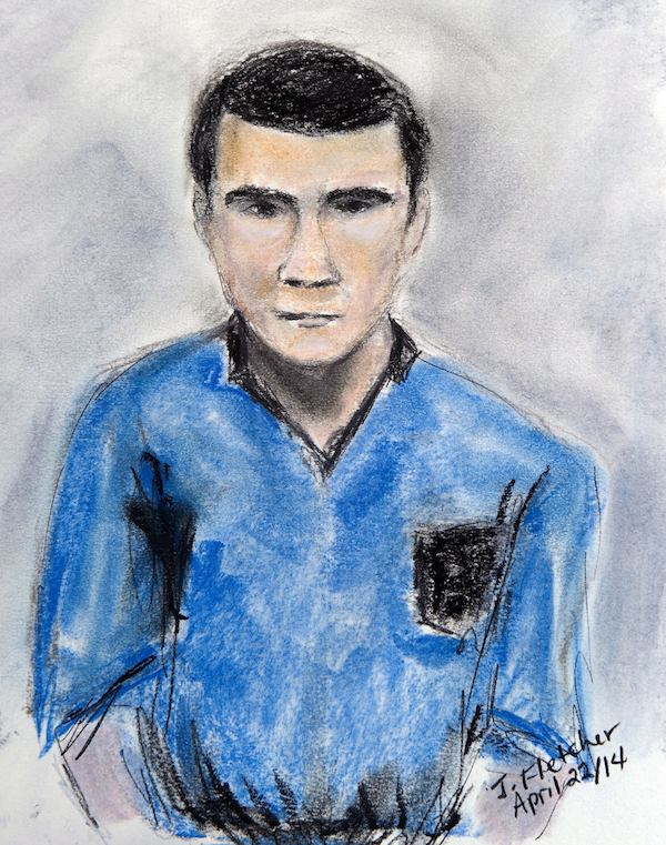 A sketch of Matthew de Grood, appearing in a Calgary court on Tuesday April 22, 2014, by artist Janice Fletcher, is shown. THE CANADIAN PRESS/Janice Fletcher