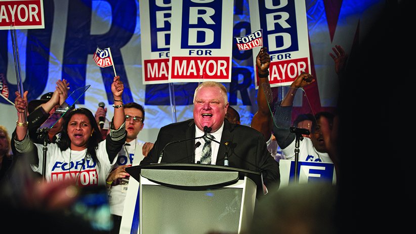 MACLEANS-FORD-04.17.14-TORONTO,ON: City of Toronto mayor Rob Ford launches his 2014 mayoral election campaign in front of thousands at the Toronto congress centre. (MACLEANS-FORD-04.17.14-TORONTO,ON: City of Toronto mayor Rob Ford launches his 2014 mayoral election campaign in front of thousands at the Toronto congress centre.