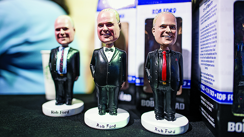Bobble head Rob Fords at his 2014 campaign launch. (Photo by Cole Garside)