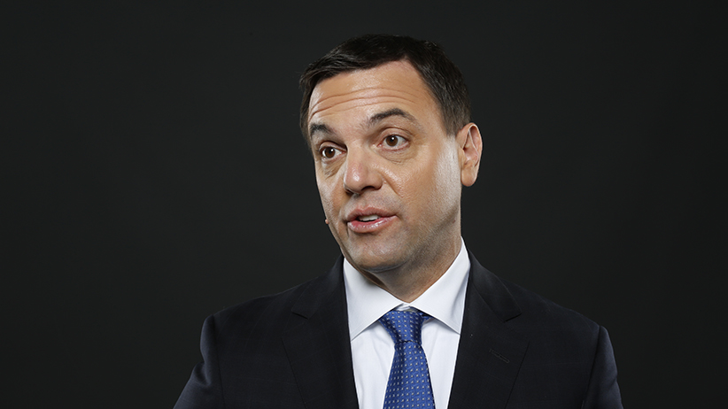 PC leader Tim Hudak in conversation with Paul Wells at Third Floor York in Ottawa May 22, 2014.  Photo by Blair Gable