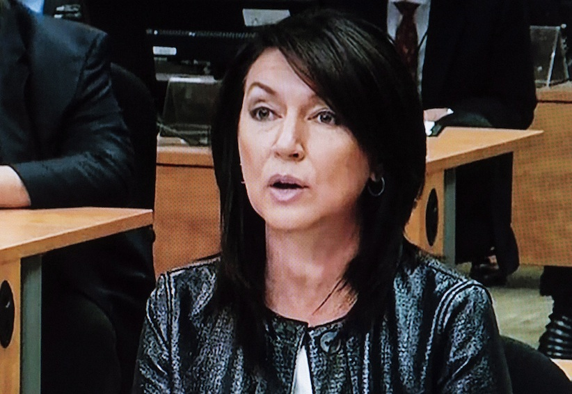 Former Quebec Liberal cabinet minister Nathalie Normandeau is pictured off a television monitor at the Charbonneau inquiry looking into corruption in the Quebec construction industry. (The Canadian Press)