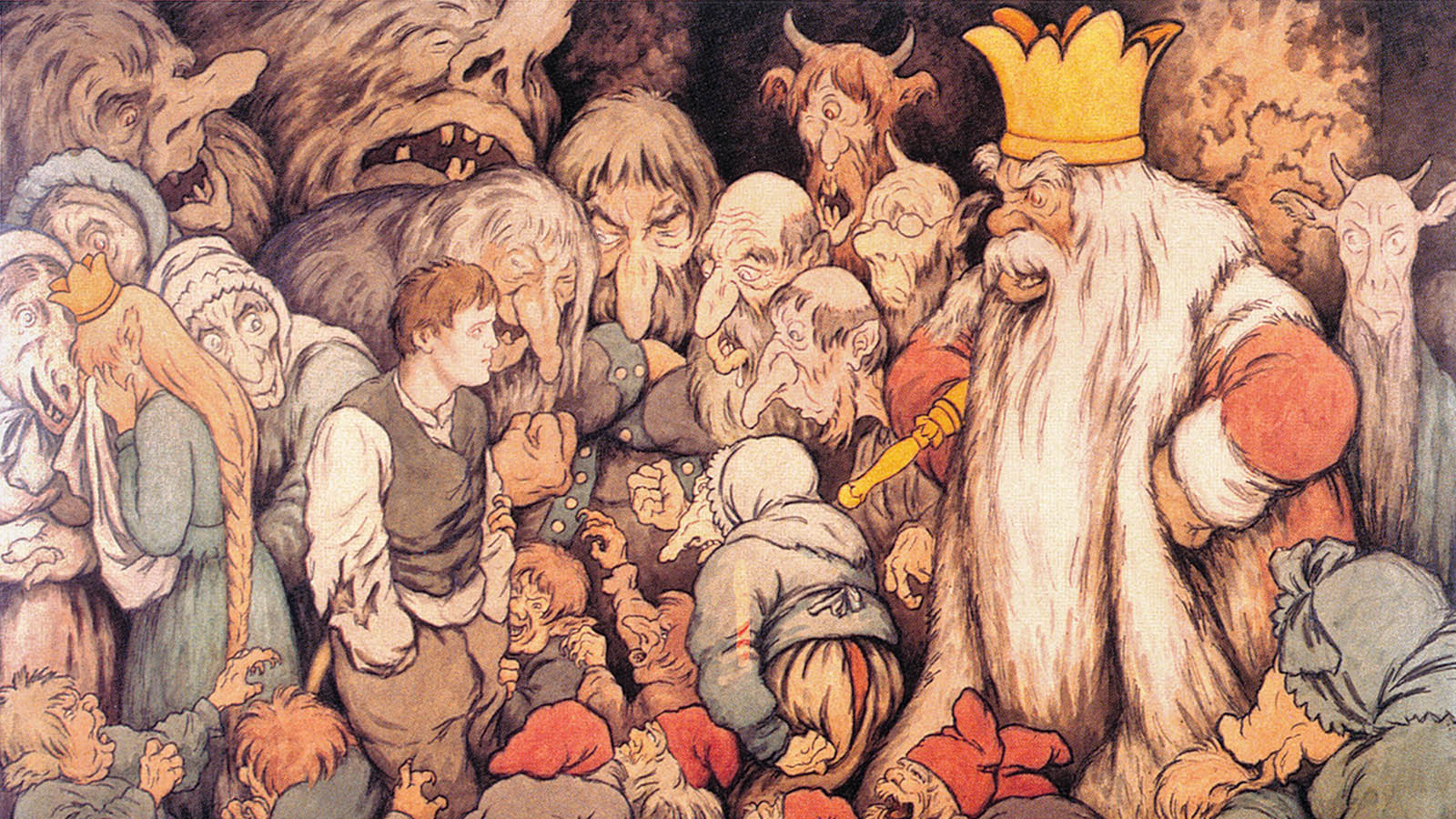 Peer Gynt In The Hall of the Mountain King, by Theodor Kittelsen, 1890