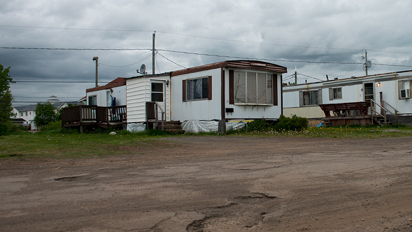 The Moncton trailer-park home of shooting suspect Justin Bourque. (Mark Blinch/Reuters)