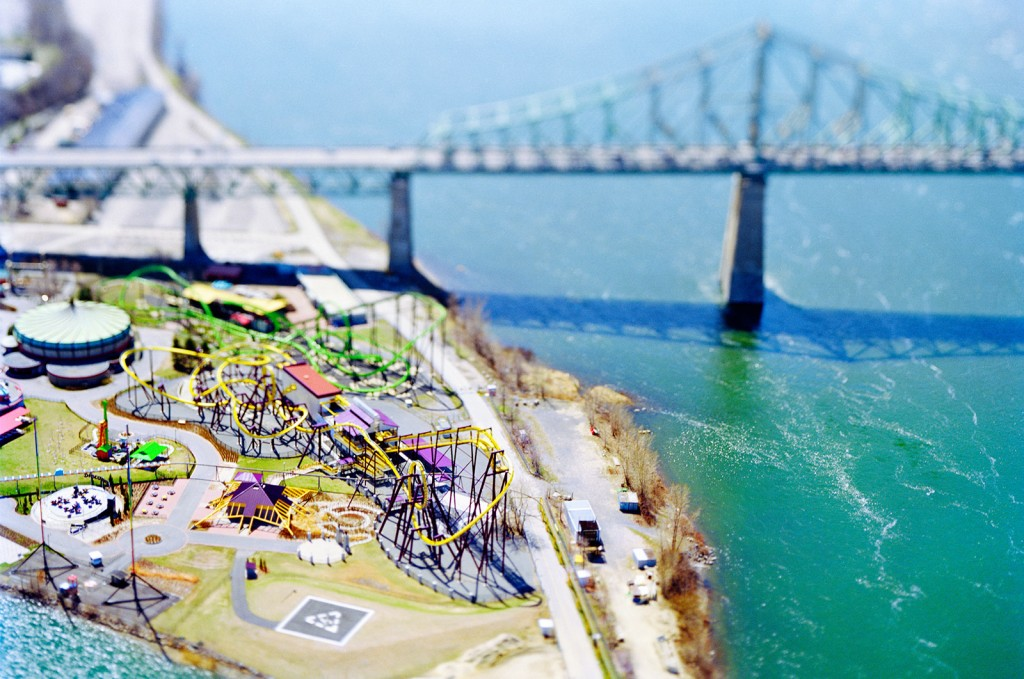 Model city: Tilt-shift photography, which simulates a shallow depth of field, is used to make a life-sized  location—in this case, Montreal—or object appear as if it were actually a miniature-scale model