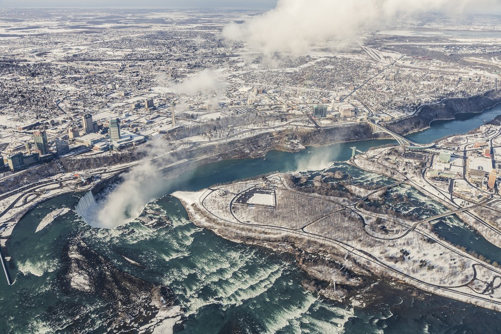 Helicopter over Niagara Falls in February 2011