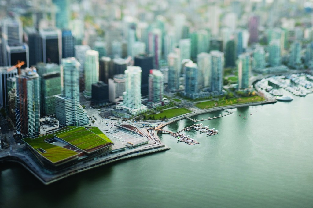 Living large, in a sense: Tilt-shift photography, which simulates a shallow  depth of field, is used to make a life-sized location—in this case, Vancouver—or object appear as if it were actually a miniature-scale model
