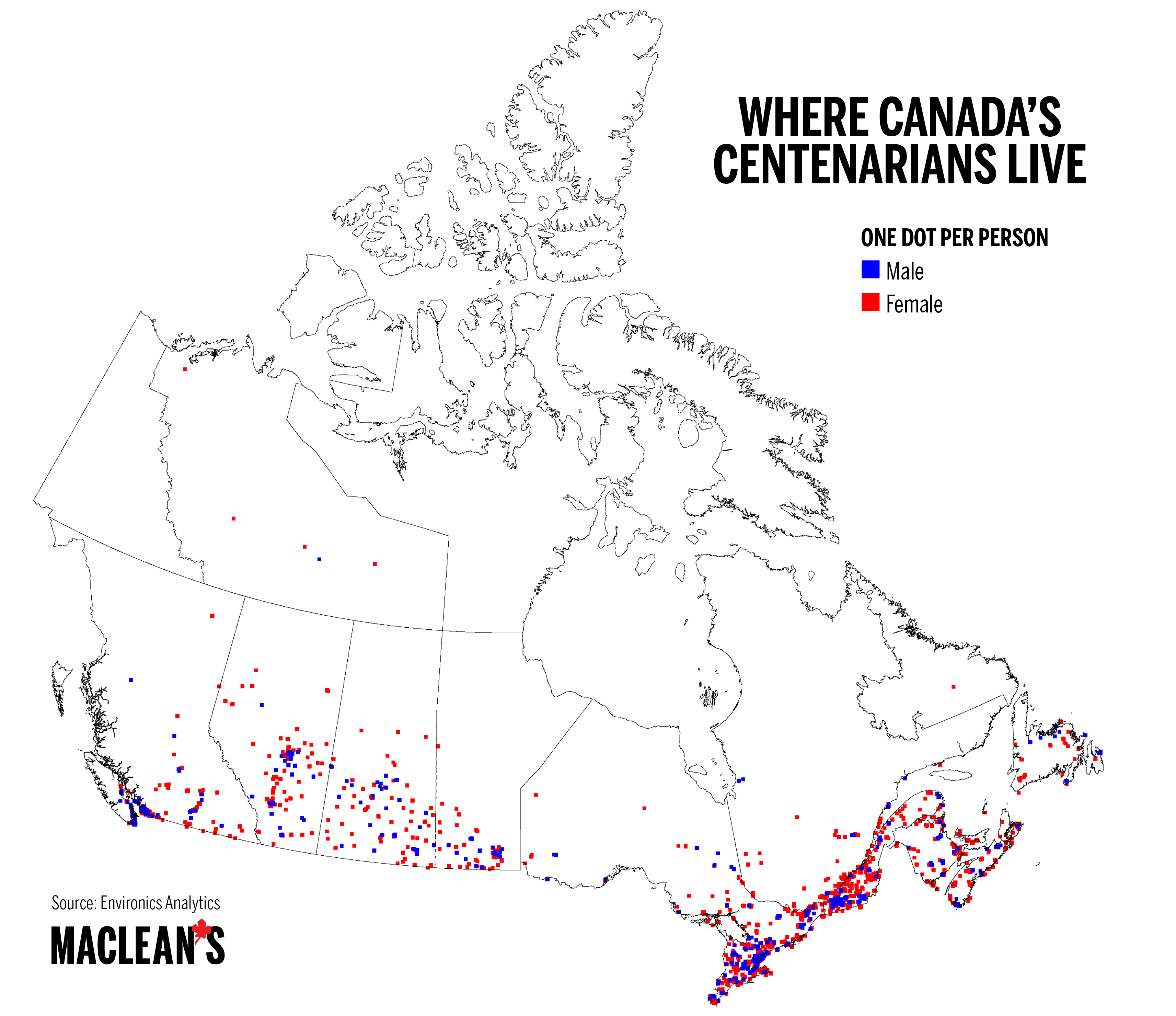 Map Of Canada North Of 60.Mapped Where Canada S Centenarians Live