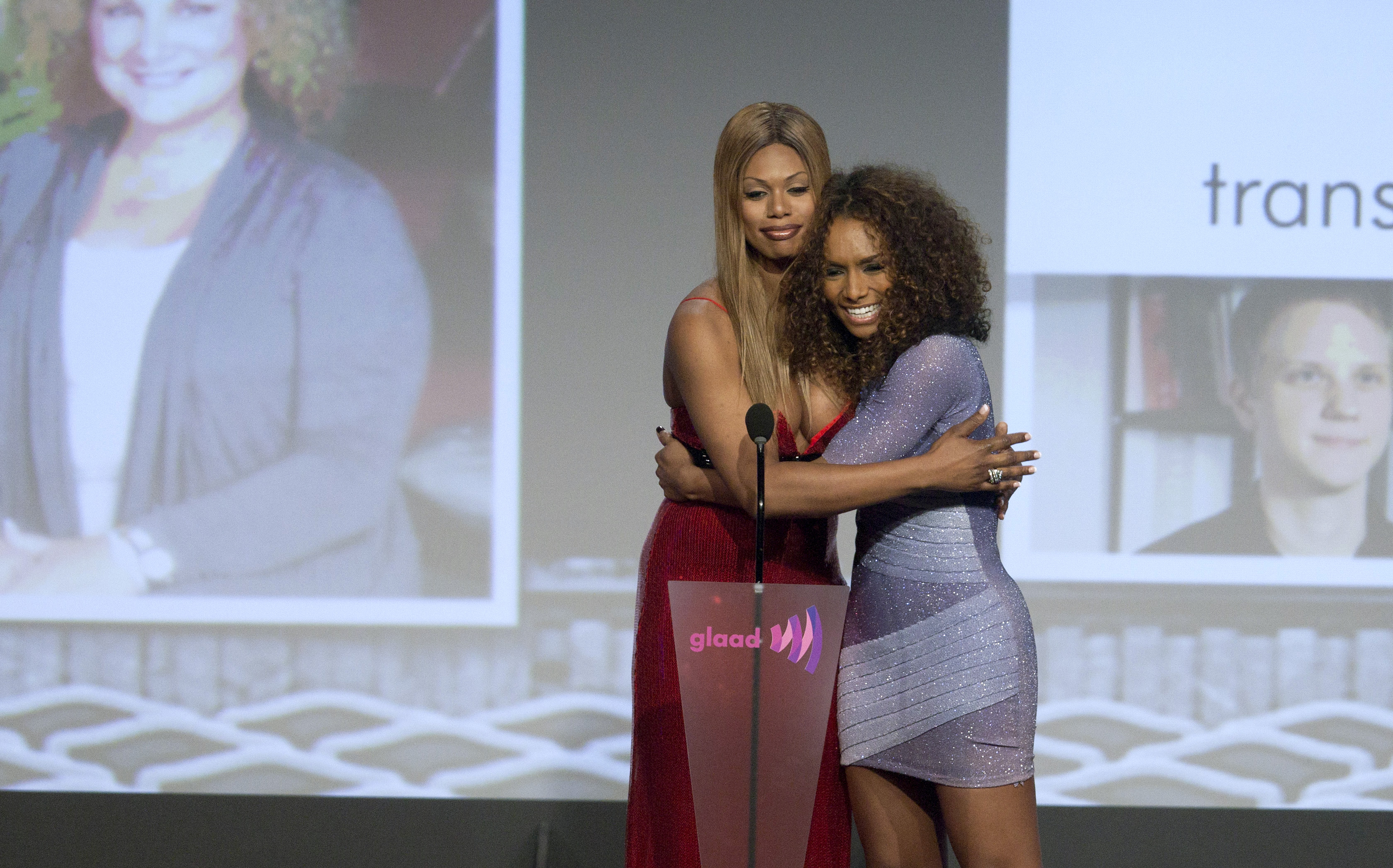 Actress Laverne Cox and writer Janet Mock attend the 23rd annual Gay and Lesbian Alliance Against Defamation (GLAAD) Media Awards in New York in 2012.   (Andrew Kelly/Reuters)