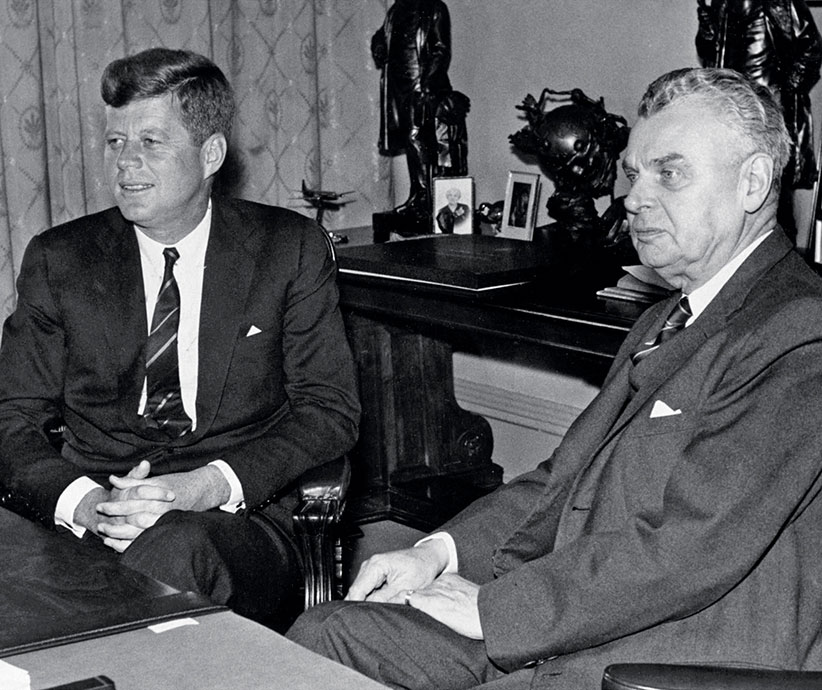 Prime Minister John Diefenbaker is seen here with U.S. President John F. Kennedy in Ottawa in 1961. (CP PHOTOS)