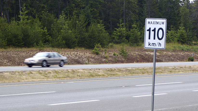 Canadian Speed Limit Sign of 110 km/h - Stock Image