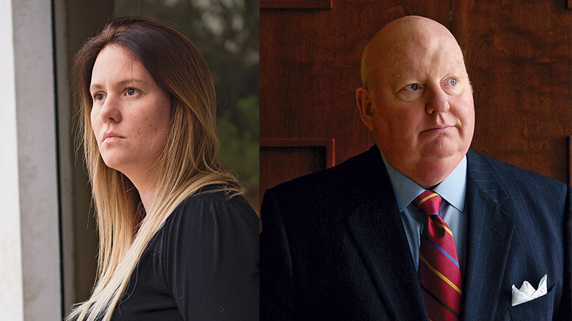 Composite image:  (left image) Karen Duffy poses for a portrait at her apartment in Lima, Peru. Karen Duffy claims to be the daughter of Canadian senator Mike Duffy. (right image) mike duffy is healthy and back at it at ctv.