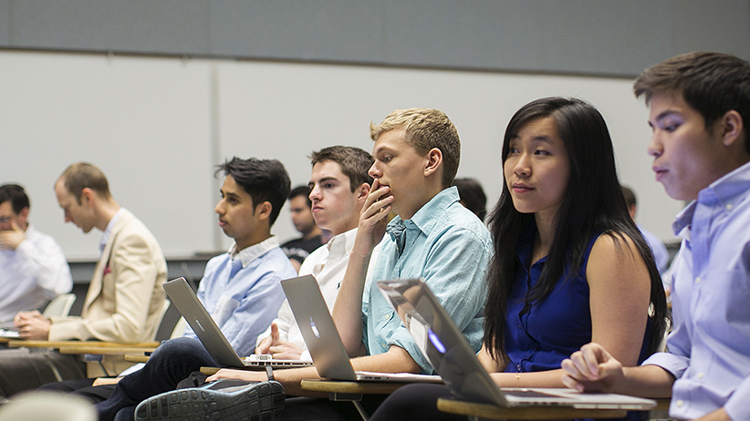 Stanford University students listen during their Technology Entrepreneurship class