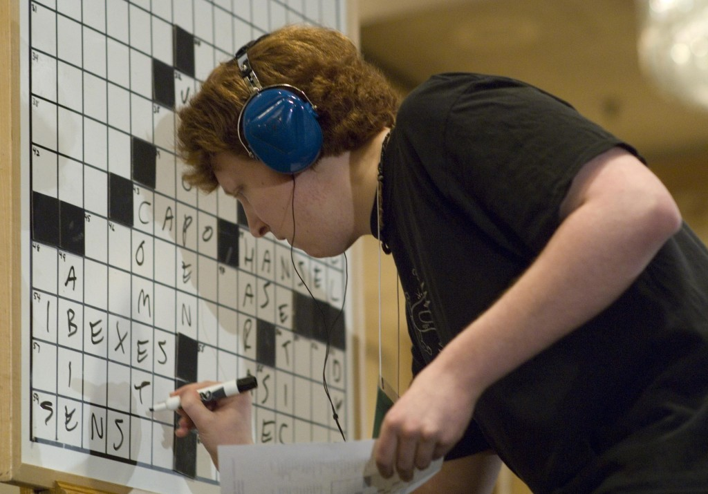 Tyler Hinman, 22, of Chicago competes in the American Crossword Puzzle Tournament in Stamford, Conn. in 2007. (Douglas Healey/AP)